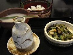 蕎麦湯+蕎麦つゆ+漬物+小おにぎり
