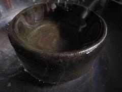 楽茶碗行水中